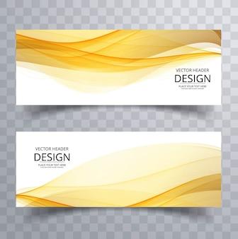 Yellow wavy banners