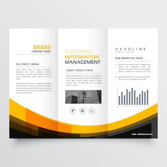 Yellow wavy business brochure