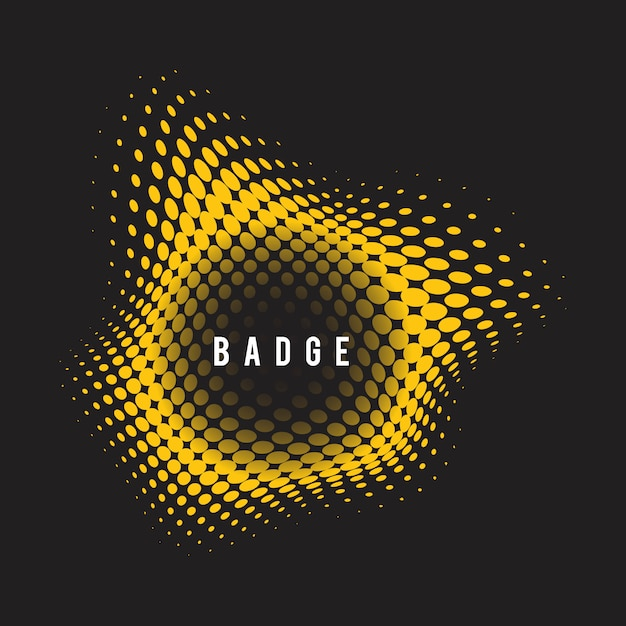 Yellow wavy halftone badge on black background