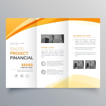 Yellow wavy tri fold business brochure design template vector