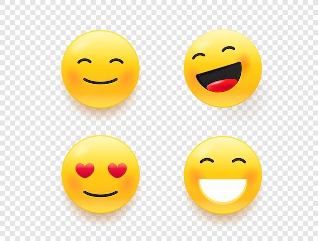 Yellow web emoticons isolated