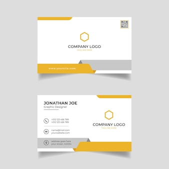 Yellow and white business card modern template design premium vector