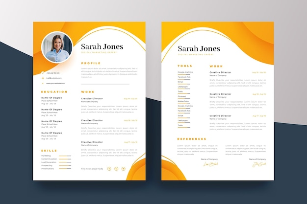 Yellow and white curriculum vitae template