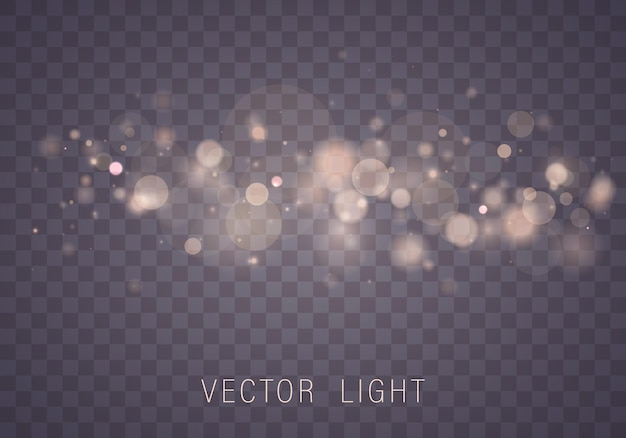 Yellow white gold light abstract glowing bokeh lights effect isolated.