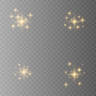 Желтый, белый, золотой, оранжевый искрится символами. набор оригинальных звезд сверкают значок. яркий фейерверк, украшение мерцание, блестящая вспышка.