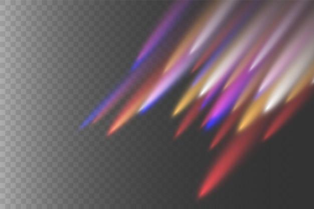 黄色、白、赤、青の水平レンズフレアパック。レーザー光線、水平光線。美しい光のフレア。暗い背景に輝く縞。明るい抽象的なきらめく裏地付きの背景。