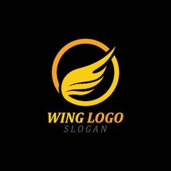 Yellow wing  logo vector illustration