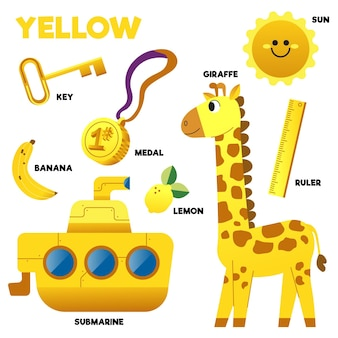 Yellow word and elements set in english