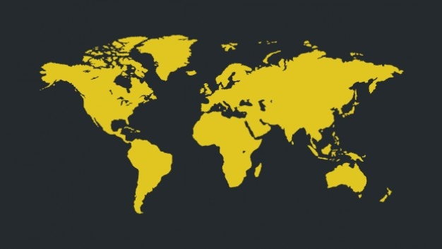 Yellow world map for infographic