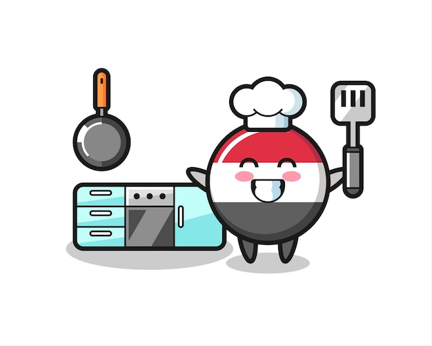 Yemen flag badge character illustration as a chef is cooking , cute style design for t shirt, sticker, logo element