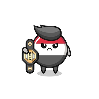 Yemen flag badge mascot character as a mma fighter with the champion belt , cute style design for t shirt, sticker, logo element