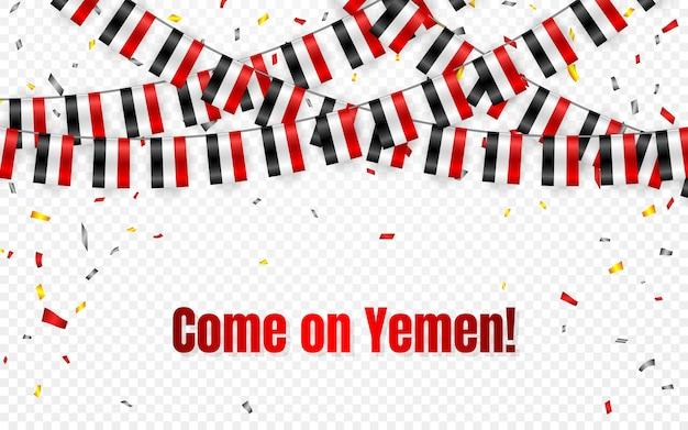 Йемен флаги гирлянды на прозрачном фоне с конфетти. повесьте овсянку для шаблона баннера празднования дня независимости йемена,