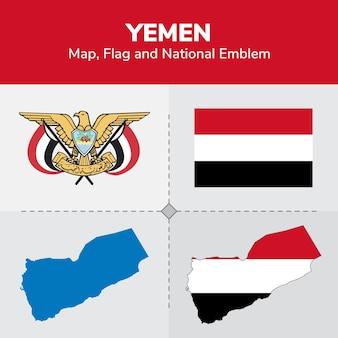 Yemen map, flag and national emblem