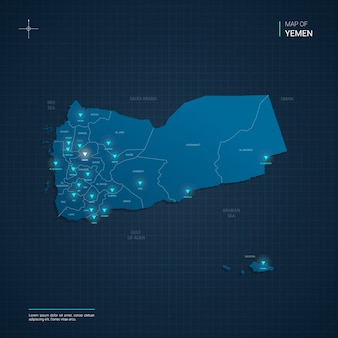 Yemen map with blue neon light points