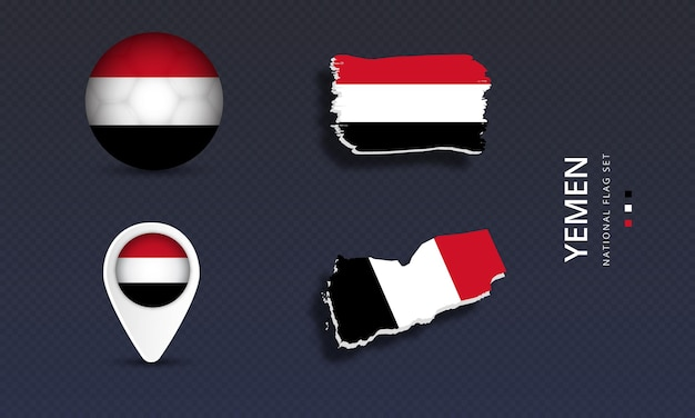 Yemen national country wave flag set