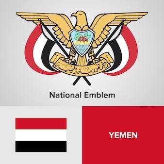 Yemen national emblem and flag
