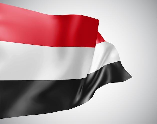 イエメン、白い背景の上の風に手を振る波と曲がりのベクトルフラグ。