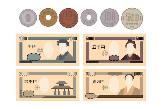 Yen banknote and coin collection