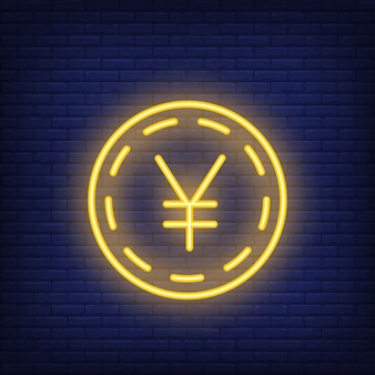 Yen coin on brick background. neon style illustration. yuan, money, exchange rate.