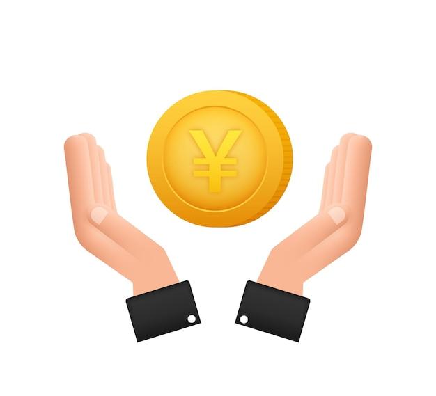 手で一円硬貨、あらゆる目的のための素晴らしいデザイン。フラットスタイルのベクトル図です。通貨アイコン。