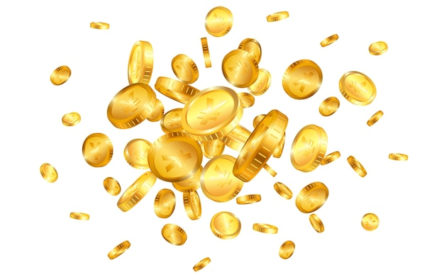 Yen gold coins explosion isolated