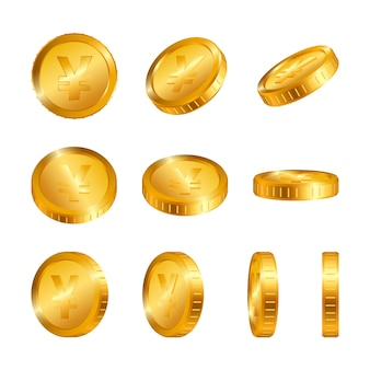 Yen gold coins isolated