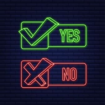 Кнопка «да» и «нет» концепция обратной связи концепция положительной обратной связи кнопка выбора неоновая иконка