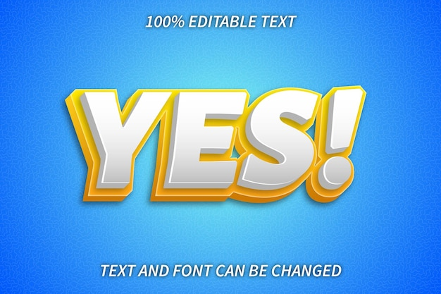 Yes editable text effect emboss style