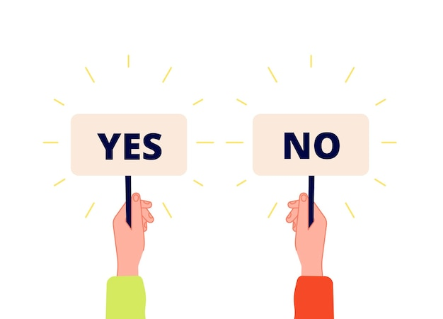 Yes no banner. choice, vote icons. businessman hand holding plates with positive and negative sign. select true or false
