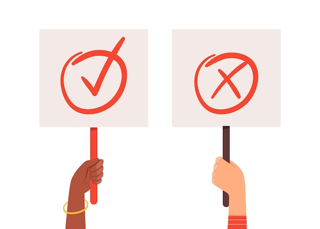 Yes no banners. hands holding choice checkmark plates. positive or negative posters vector illustration. select check yes and no, positive mark correct