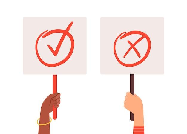 Да никаких баннеров. руки держат отборные пластины с галочкой. положительные или отрицательные плакаты векторные иллюстрации. выберите проверить да и нет, положительный знак правильный
