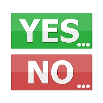 Yes and no buttons in flat design