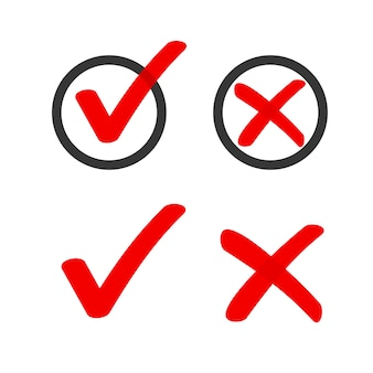 Yes no check box list marker ticks icons circle doodle, red handdrawn poll vote checkmark