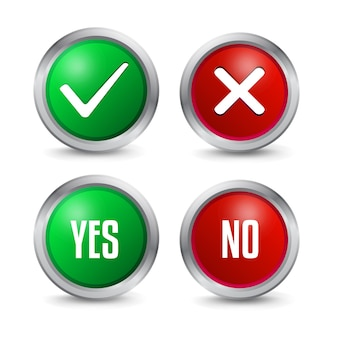 Yes and no checkmarks icon