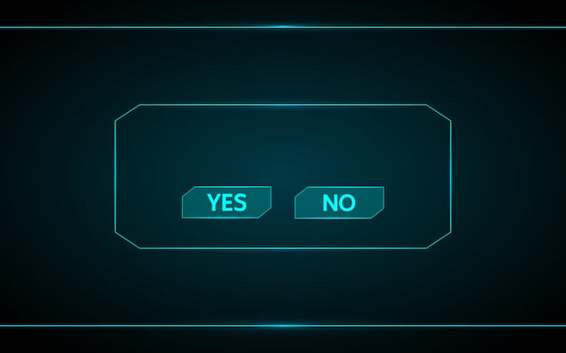 Yes and no game button on technology futuristic interface hud background.