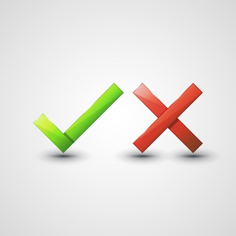 Yes or no icons Premium Vector