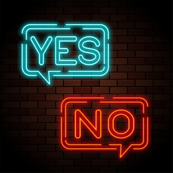 Yes and no neon signs