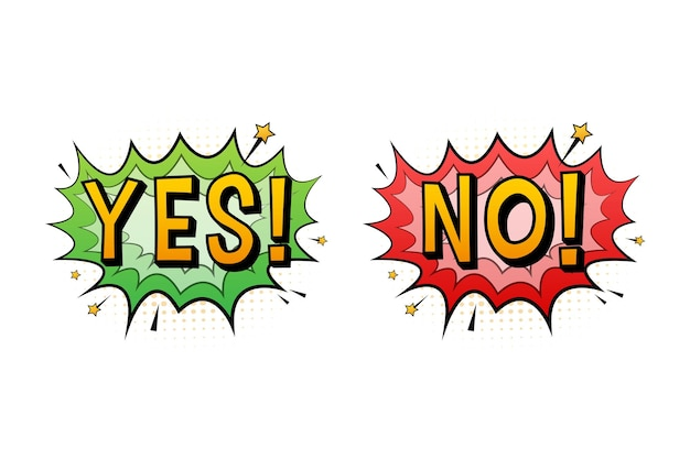 Yes and no speech bubble in pop art style. feedback concept. positive feedback concept. vector stock illustration