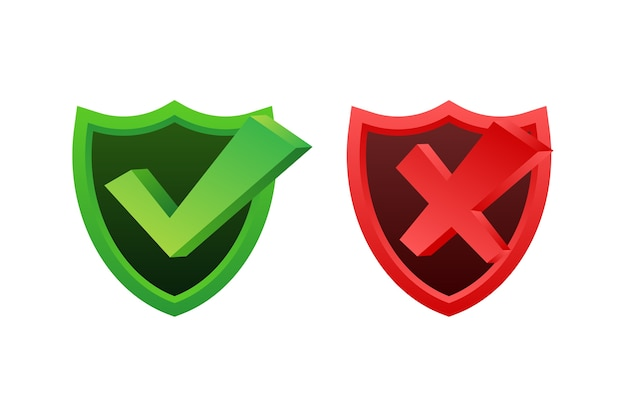 Yes no word text in shield icon Premium Vector
