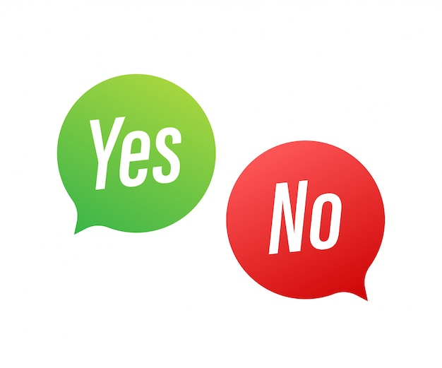 Yes no word text on talk shape.