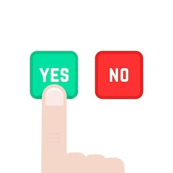 딜레마와 같은 예 또는 아니오 버튼. 투표, 올바른, 제스처, 제안, 평가, 수락, 사실, 동의, 동의, 선거의 개념. 흰색 배경에 평면 스타일 그래픽 디자인 벡터 일러스트 레이 션