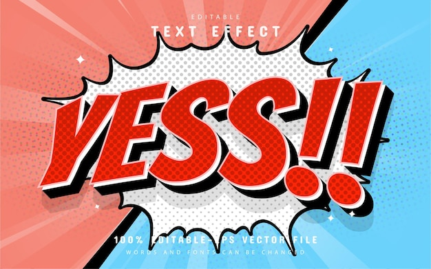 Yes text, comic text effect