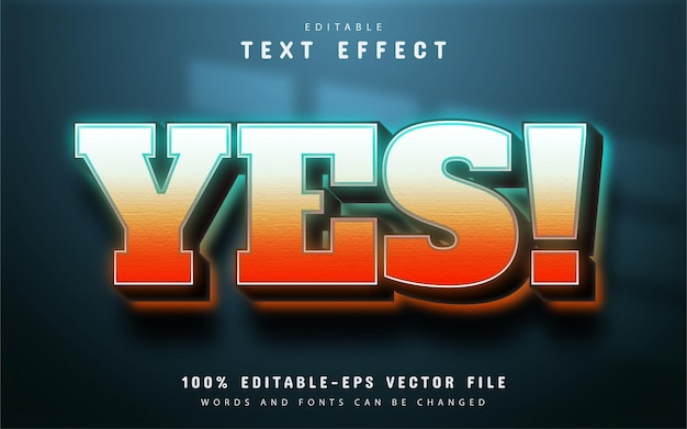 Yes text, gradient style text effect