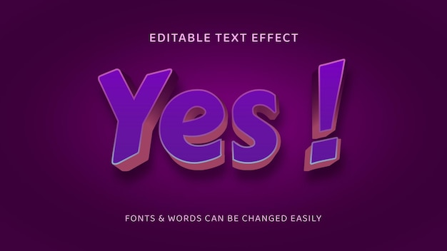 Yes violet simple editable 3d text effect