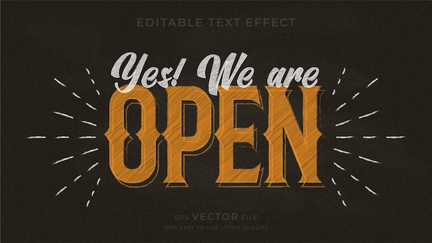 Yes! we are open. typography chalkboard editable text effect