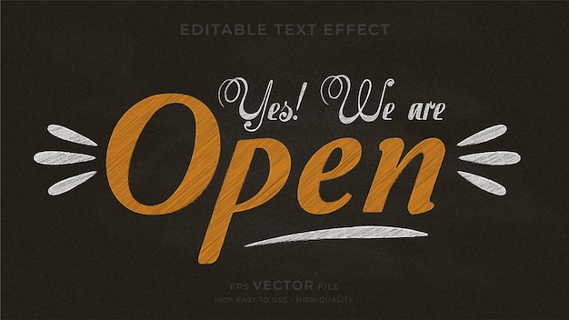 Yes! we are open. typography chalkboard editable text effect.