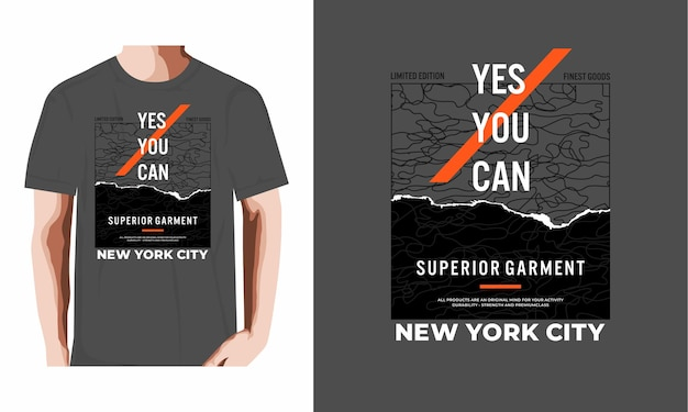 Yes you can typography tshirt design premium vector