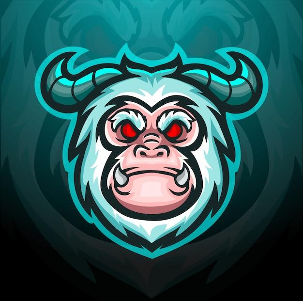 Yeti head mascot for gaming logo.