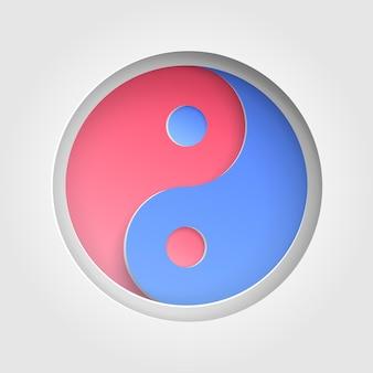Инь и ян подписывают символ. фон бумаги вырез. символ гармонии и баланса иньян. горячие и холодные цвета