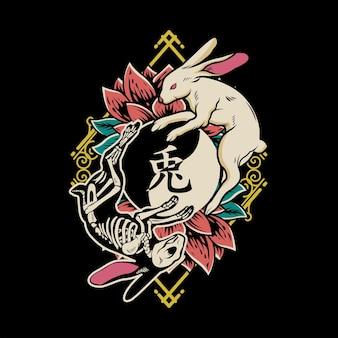 해골 토끼와 토끼 동물의 음과 토끼 그림 조합